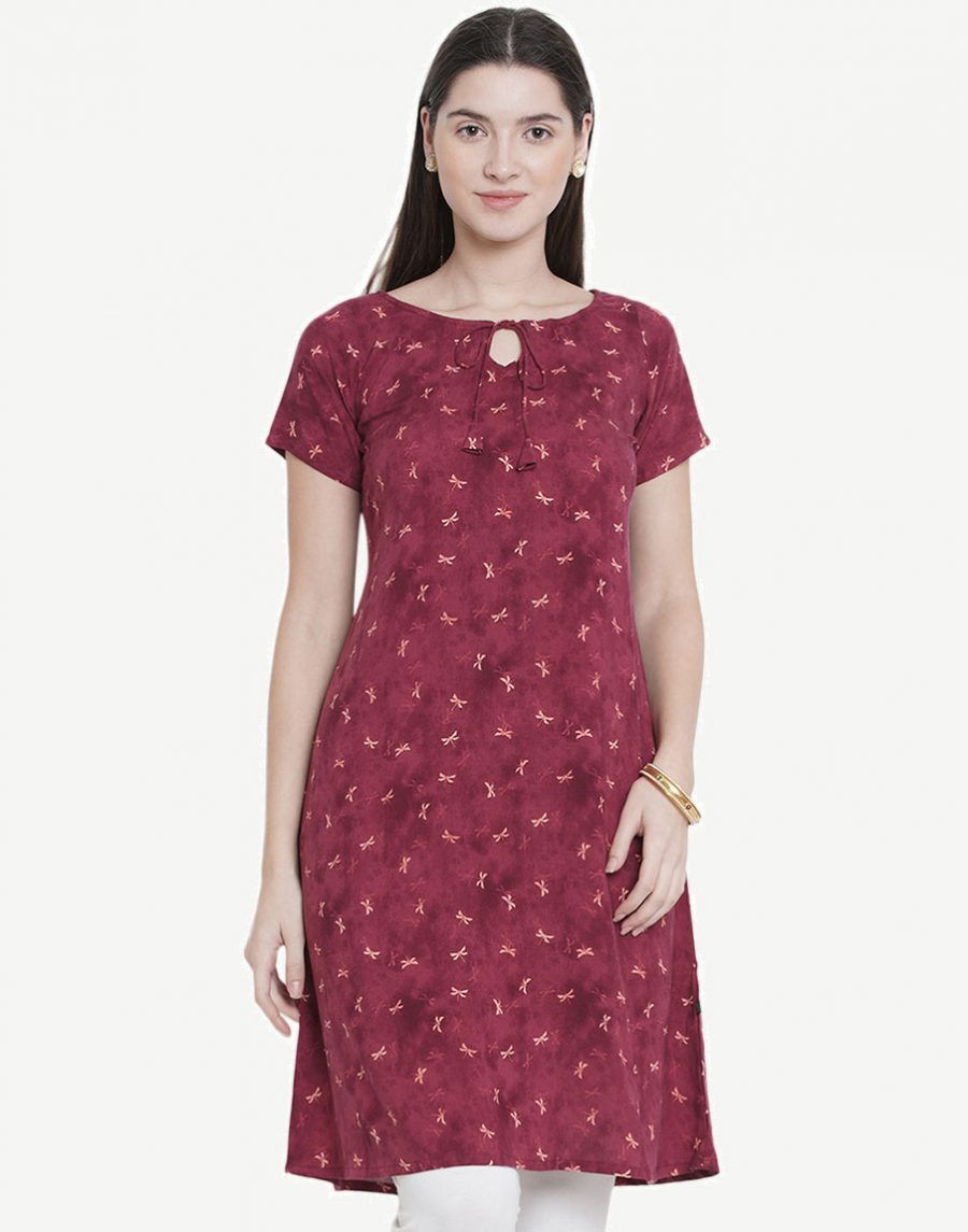 Printed Brown cotton kurti