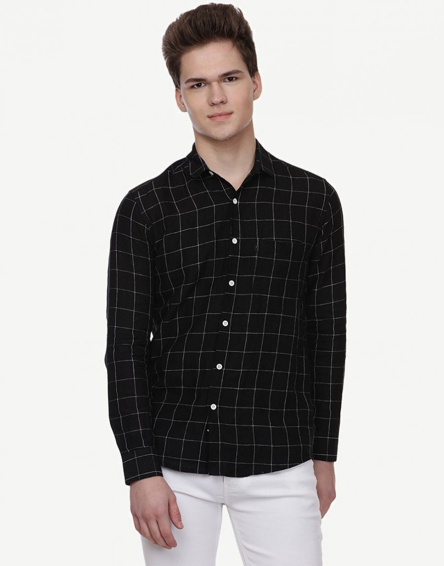 Men's Black Check Shirt - Pure Linen