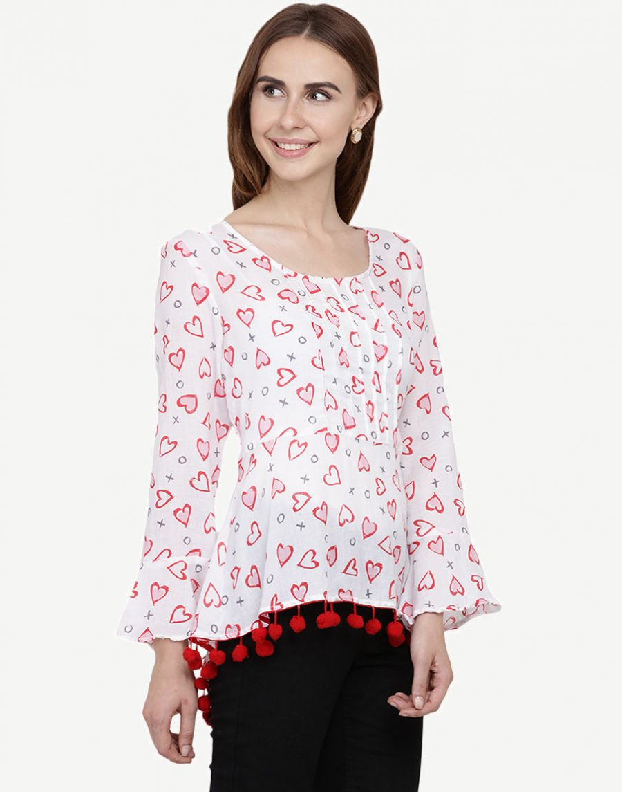 White Printed Casual Wear Tops