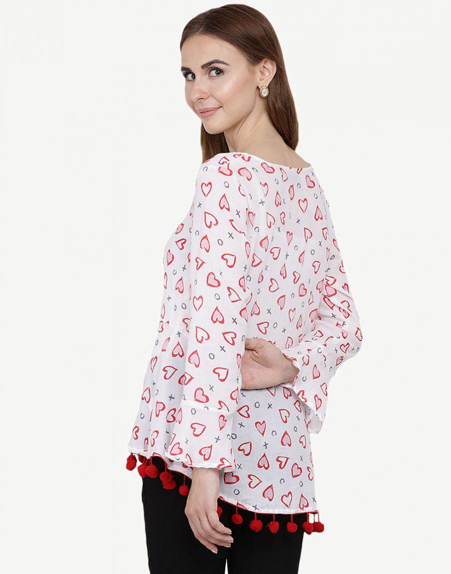Girls Top Red Printed - Pom Pom Tops