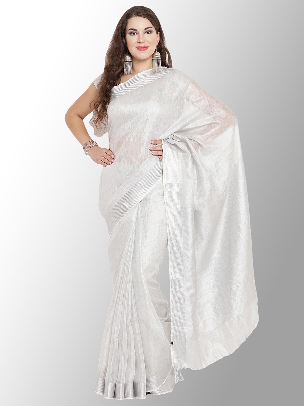 Tissue Linen Saree | Silver Tissue Linen Sarees