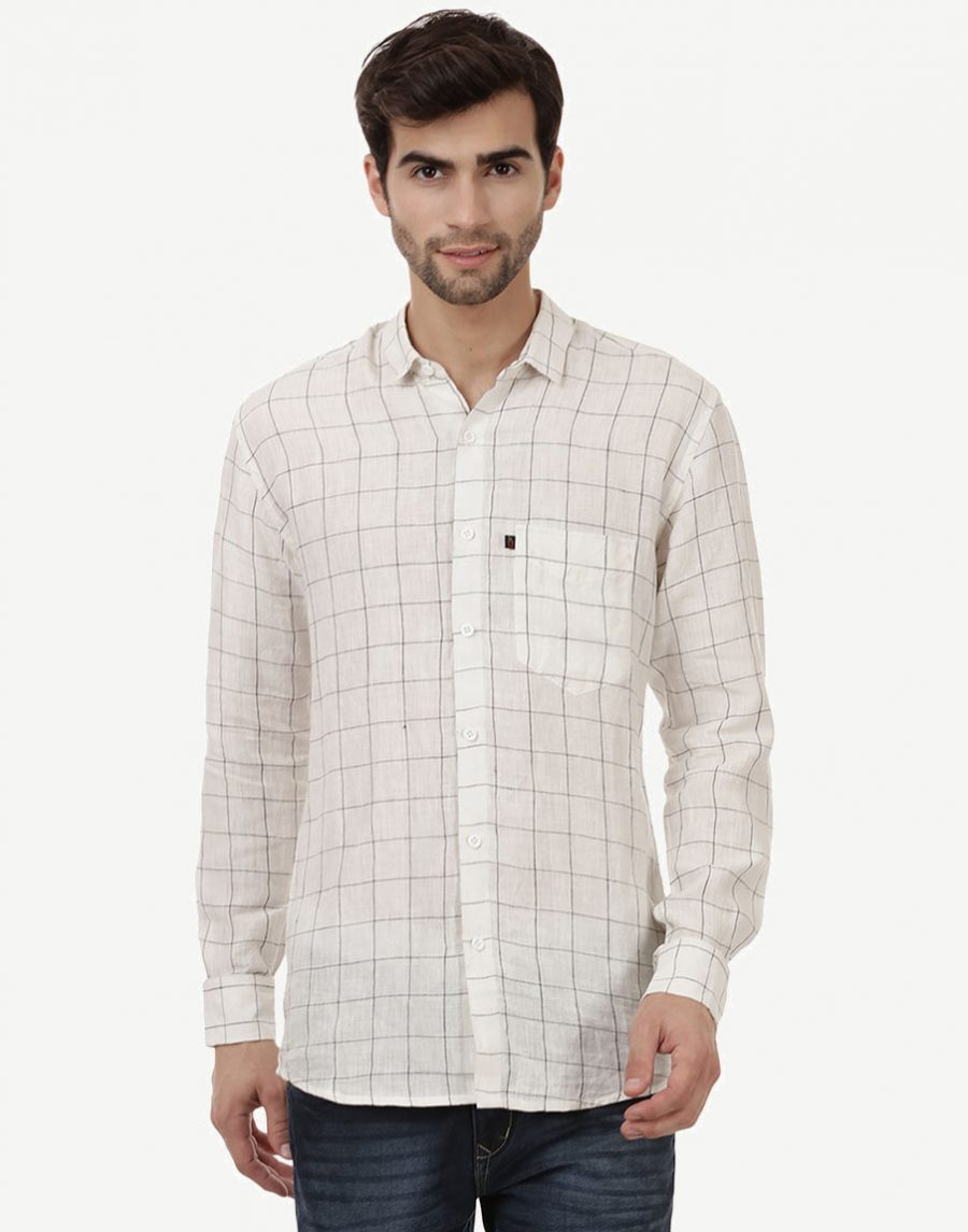 Black White Check Shirt - Pure Linen