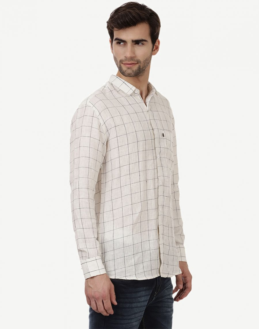 White Black Check Shirt for Men