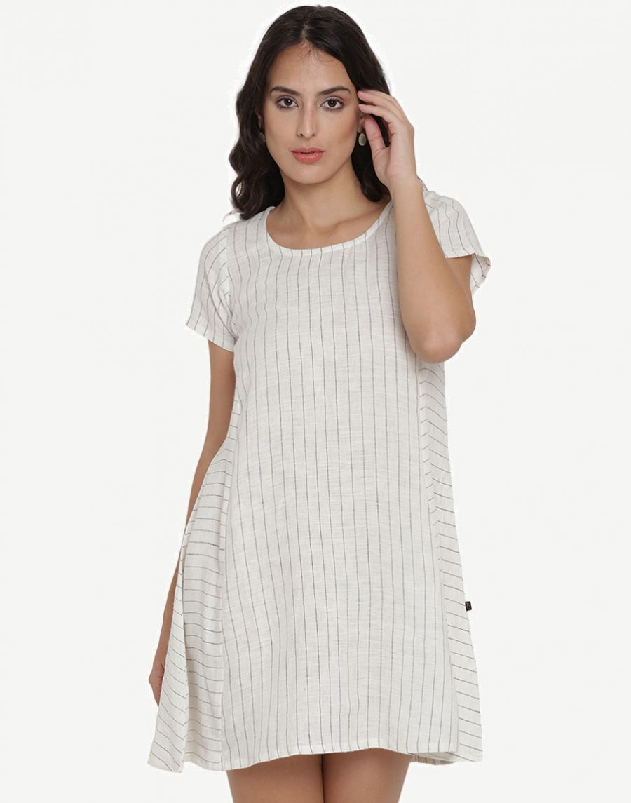 Striped Linen White Dress