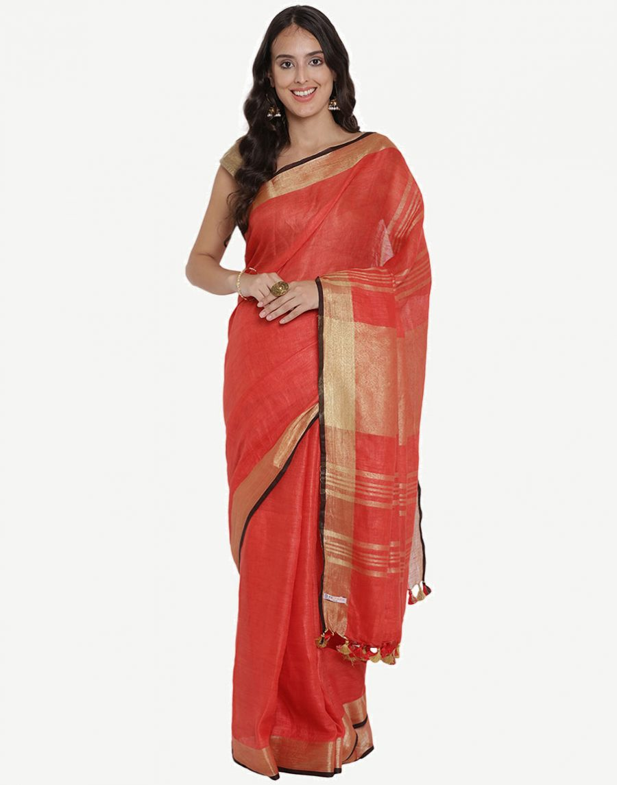 Red Pure Linen Saree