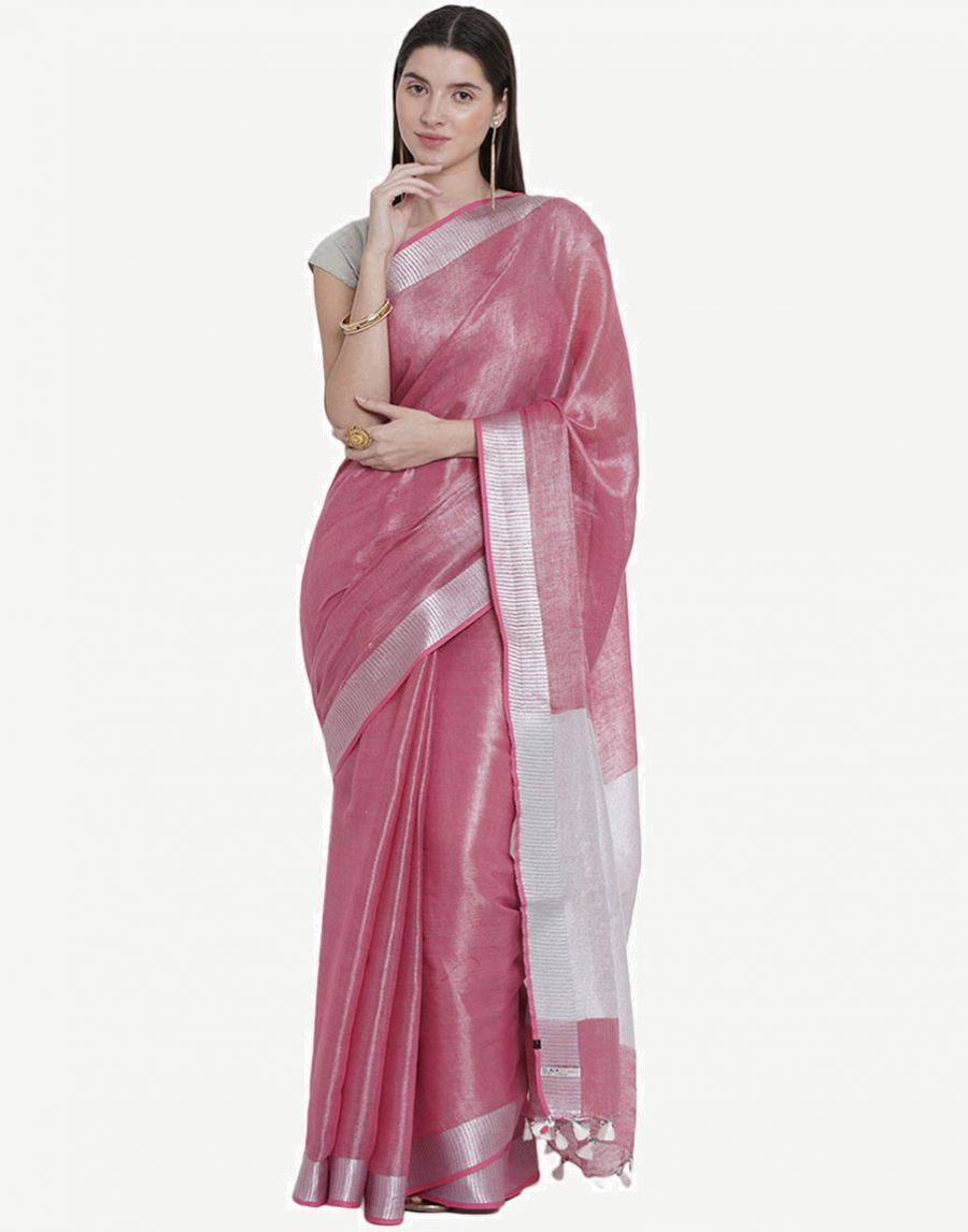 Tissue Linen Pink Saree