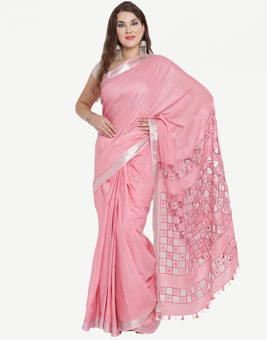 CutWork Pink Cotton Saree