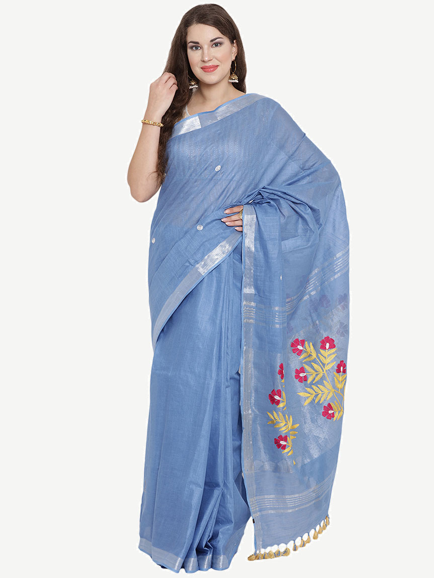 Embroidered Baby Blue Cotton Saree