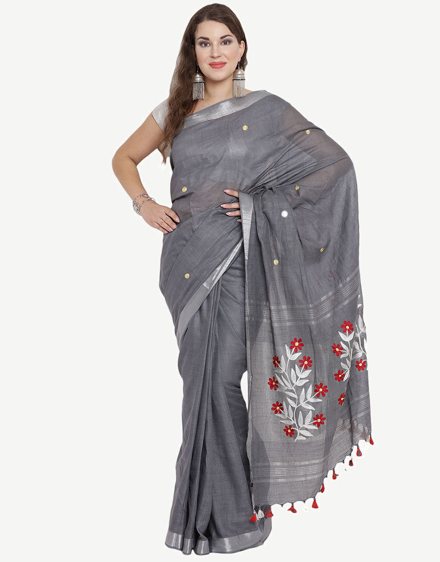 Embroidered Charcoal-Grey Cotton Saree
