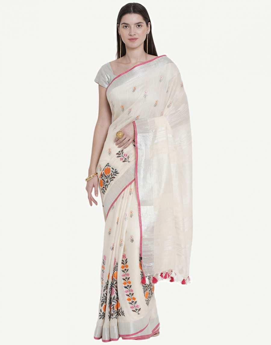 Floral Embroidered White Saree