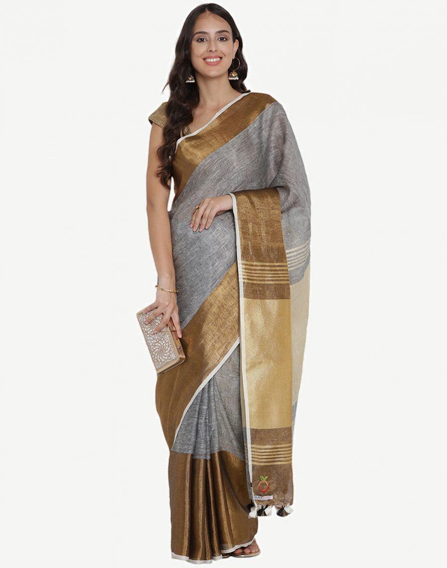 Grey-Gold Pure Linen Saree