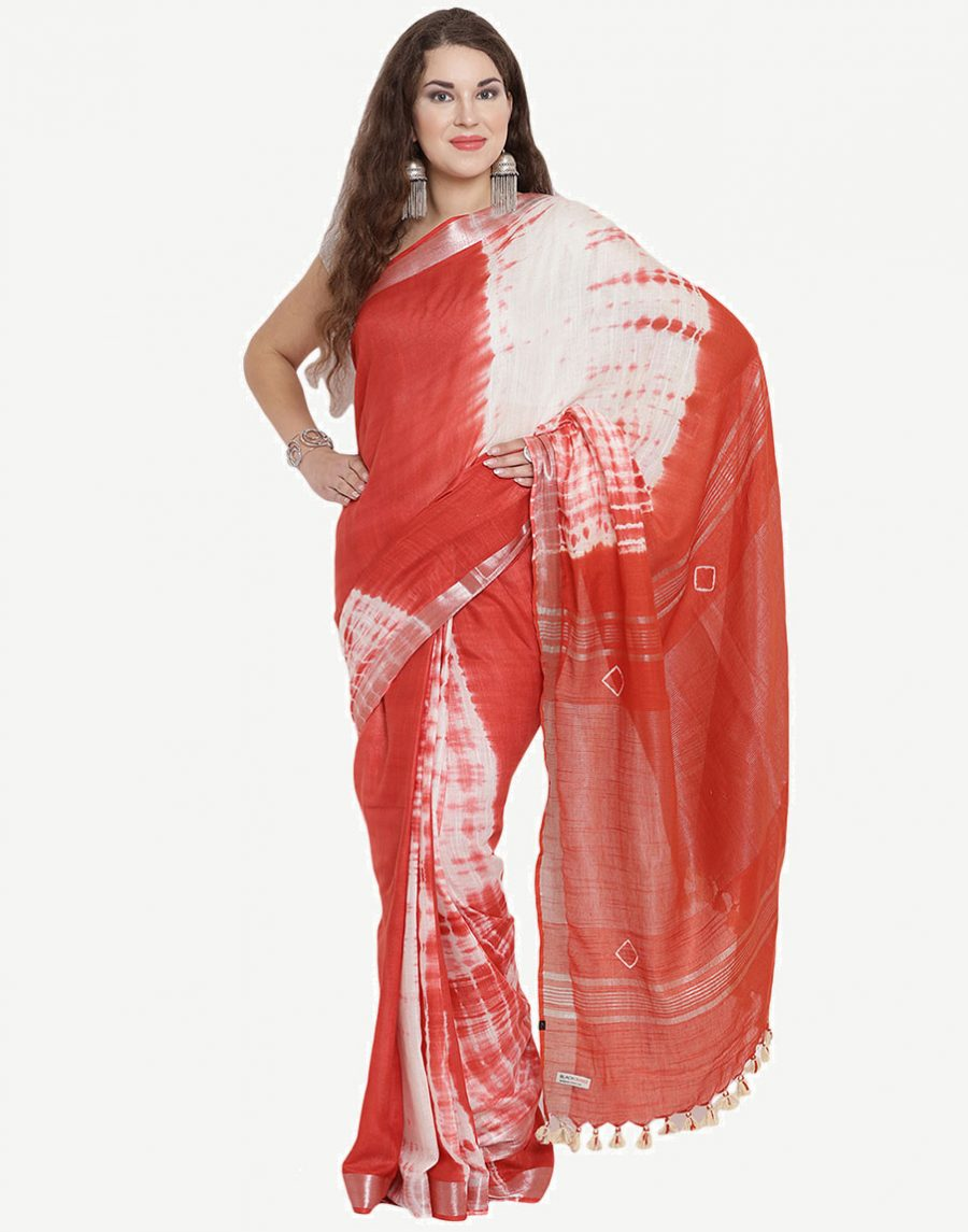 Tie-Dye Red-White Cotton Saree