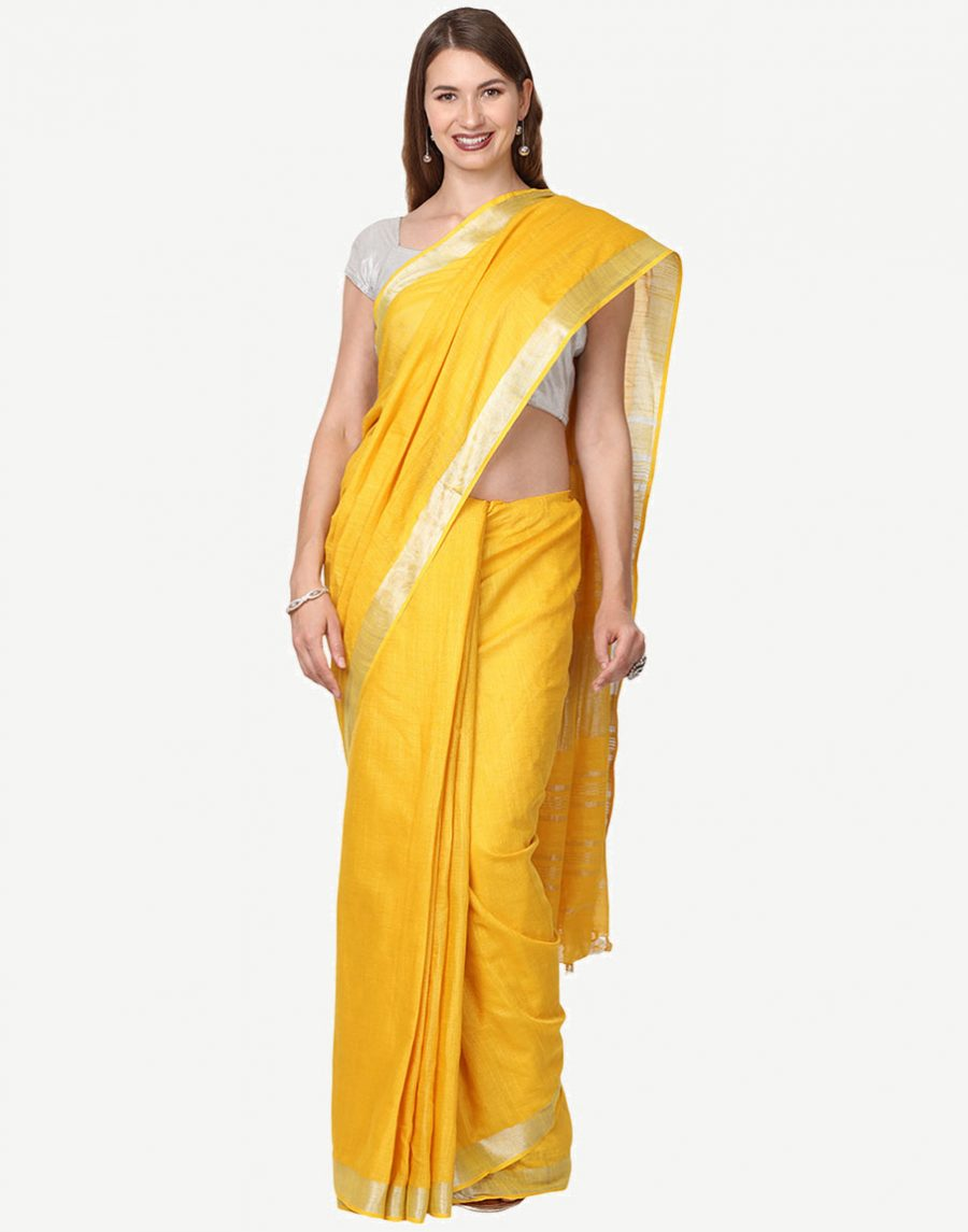 Plain Yellow Cotton Saree