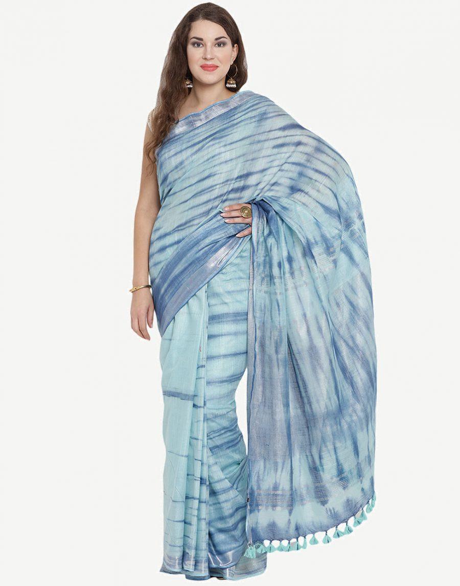 Tie-Dye Blue Cotton Saree