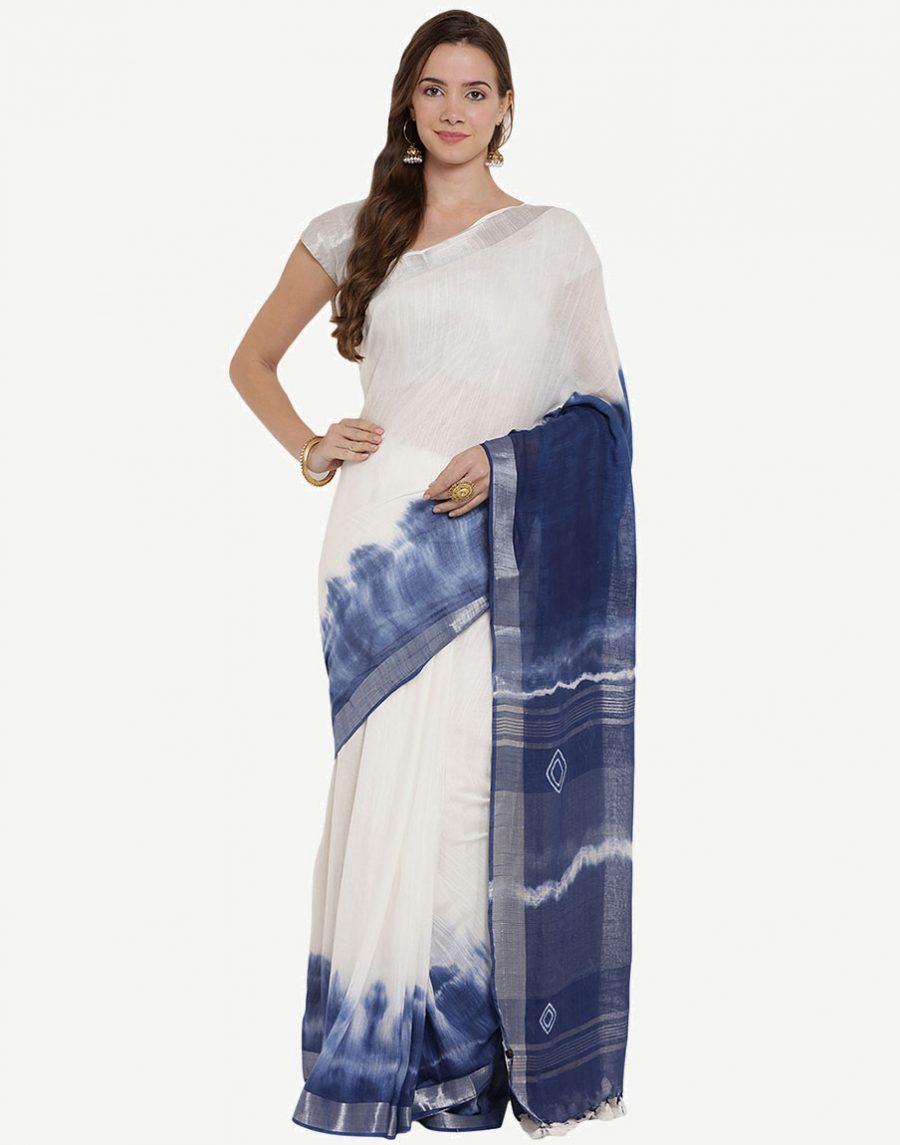 Tie-Dye White-Blue Cotton Saree