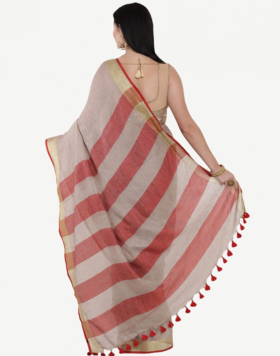 Copper Linen Saree with red border