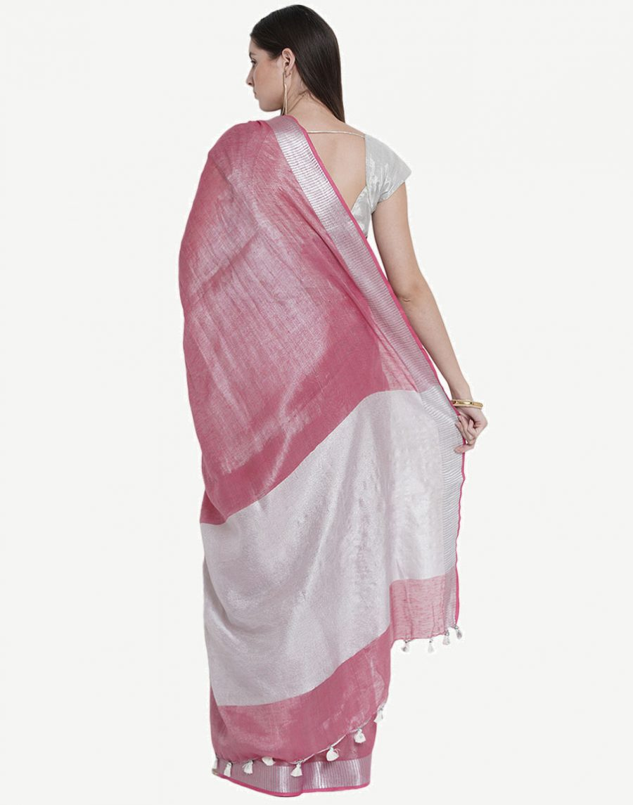 Pink Tissue Linen Saree with Silver border