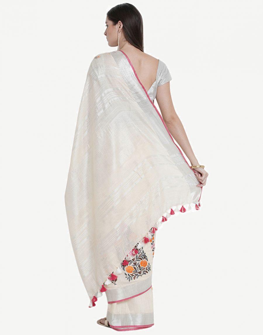 Off-White Cotton Saree