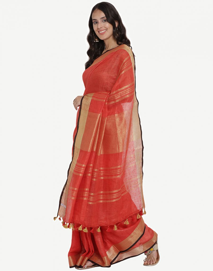 Maroon Red Linen Saree