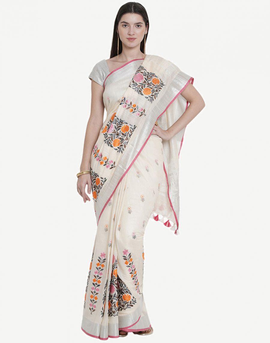 Cream Color Embroidered Saree