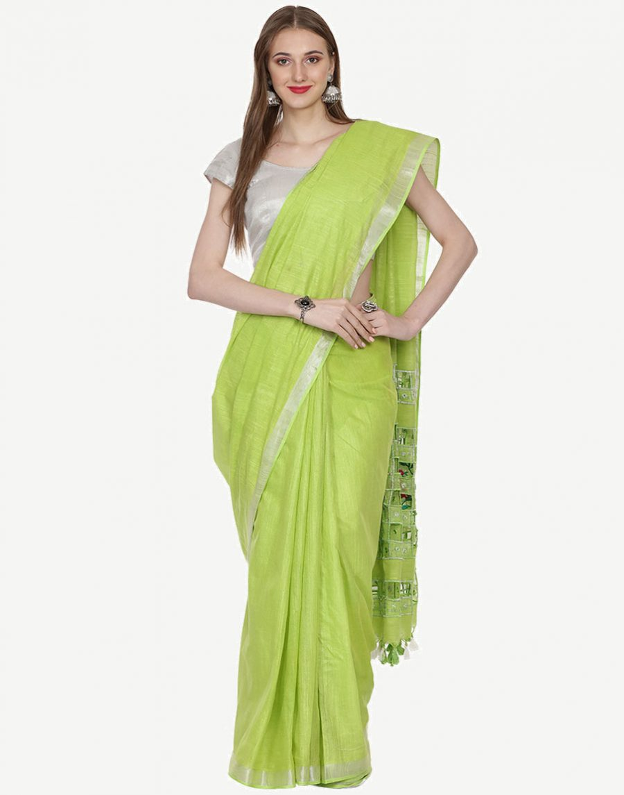 CutWork Green Cotton Saree