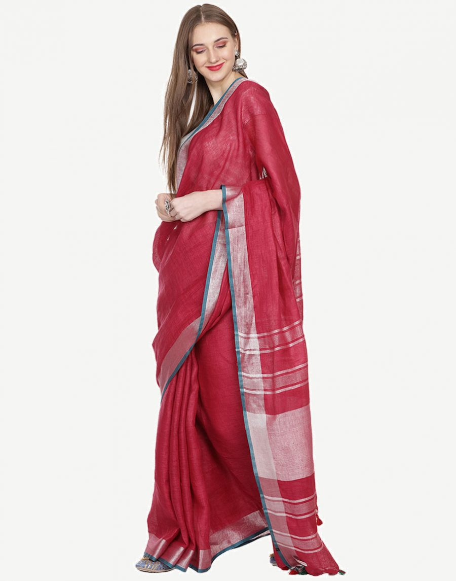 Maroon Saree with Green border by Black Orange