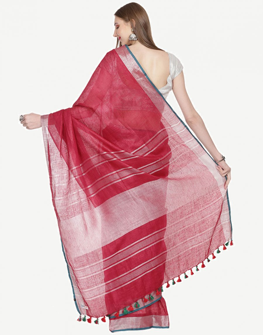 Pure Linen Maroon Saree with silver border by Black Orange