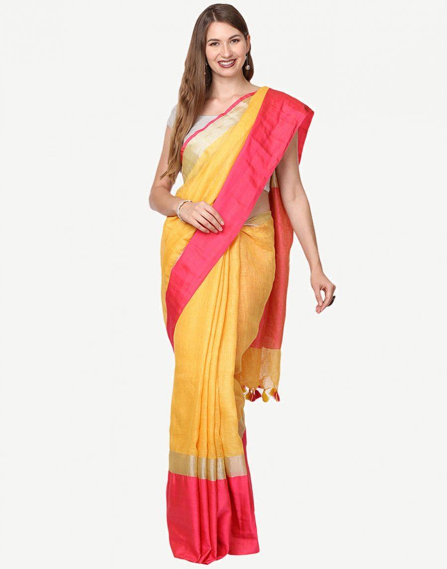 Yellow Pink Linen Saree