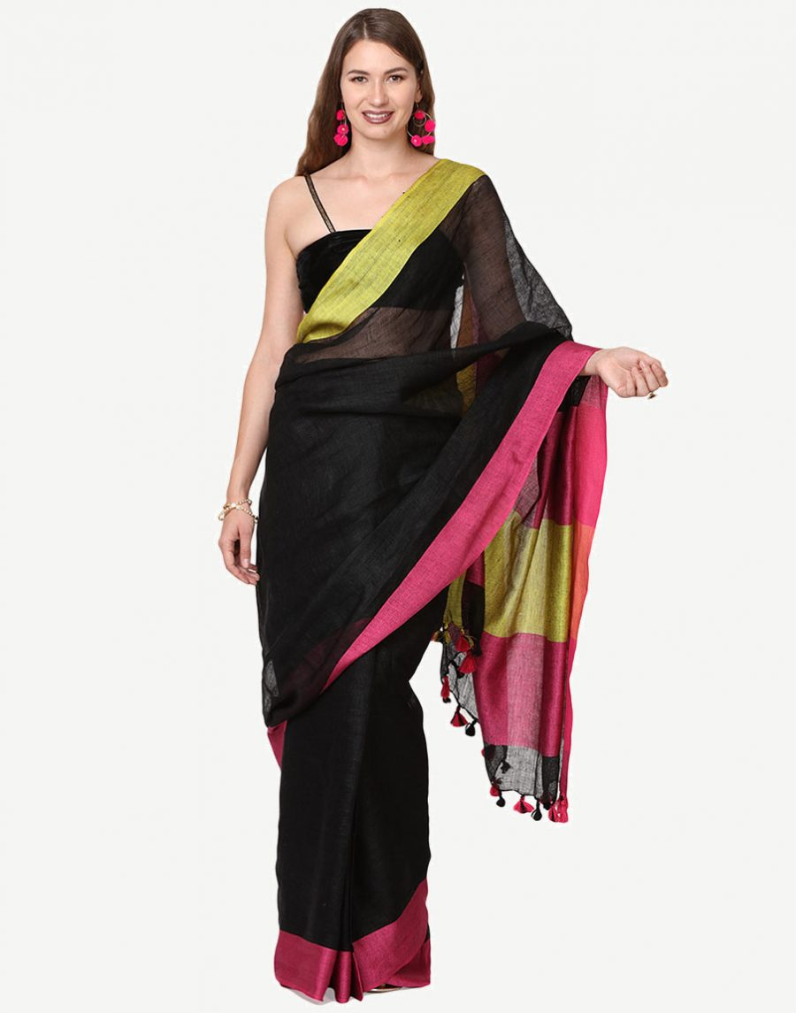 Black Linen Saree with Yellow Pink border