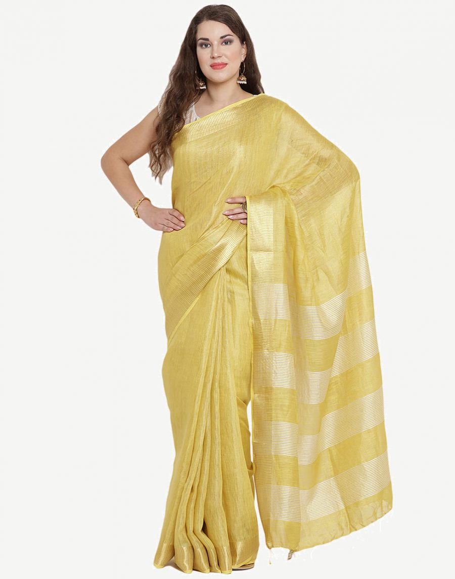 Golden Tissue Linen Saree
