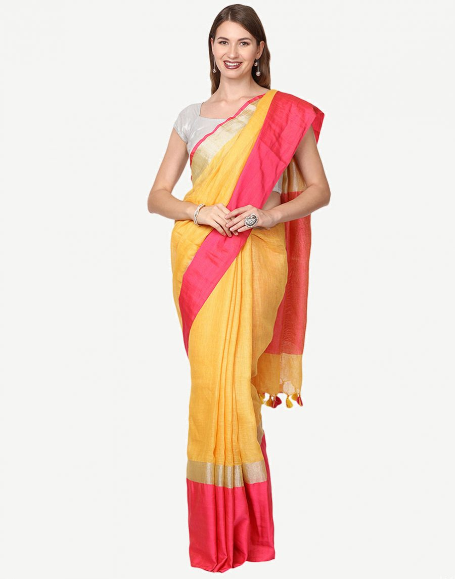 Yellow Linen Saree with Pink border