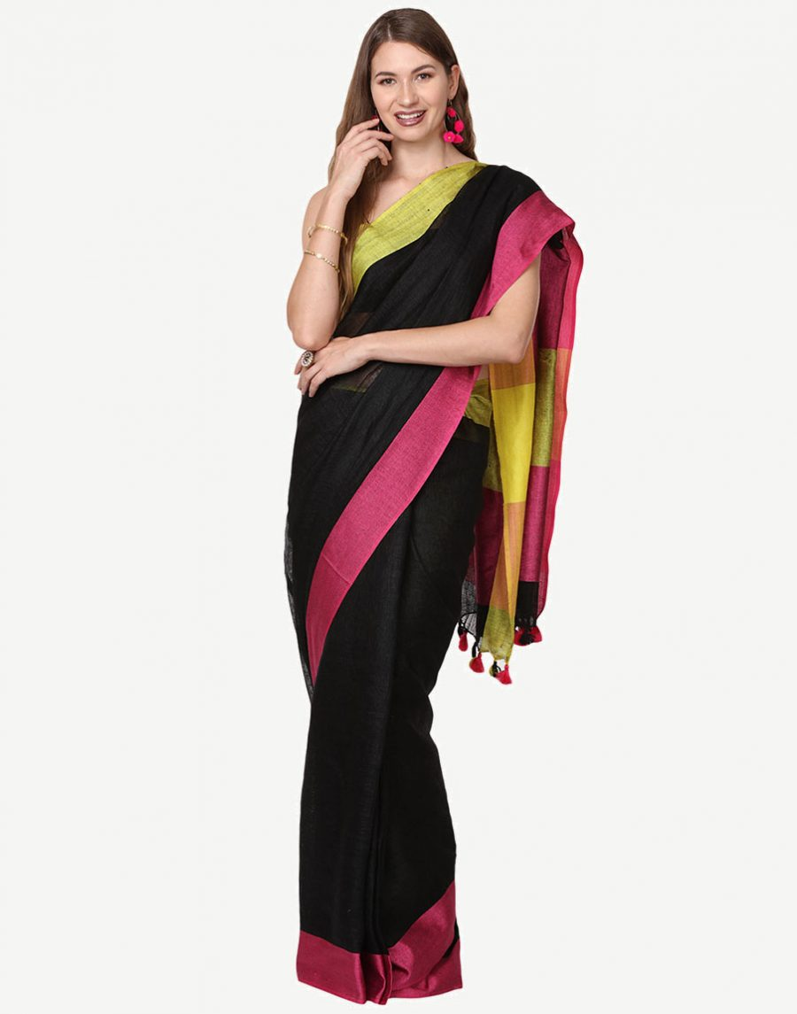 Yellow Black Linen Saree