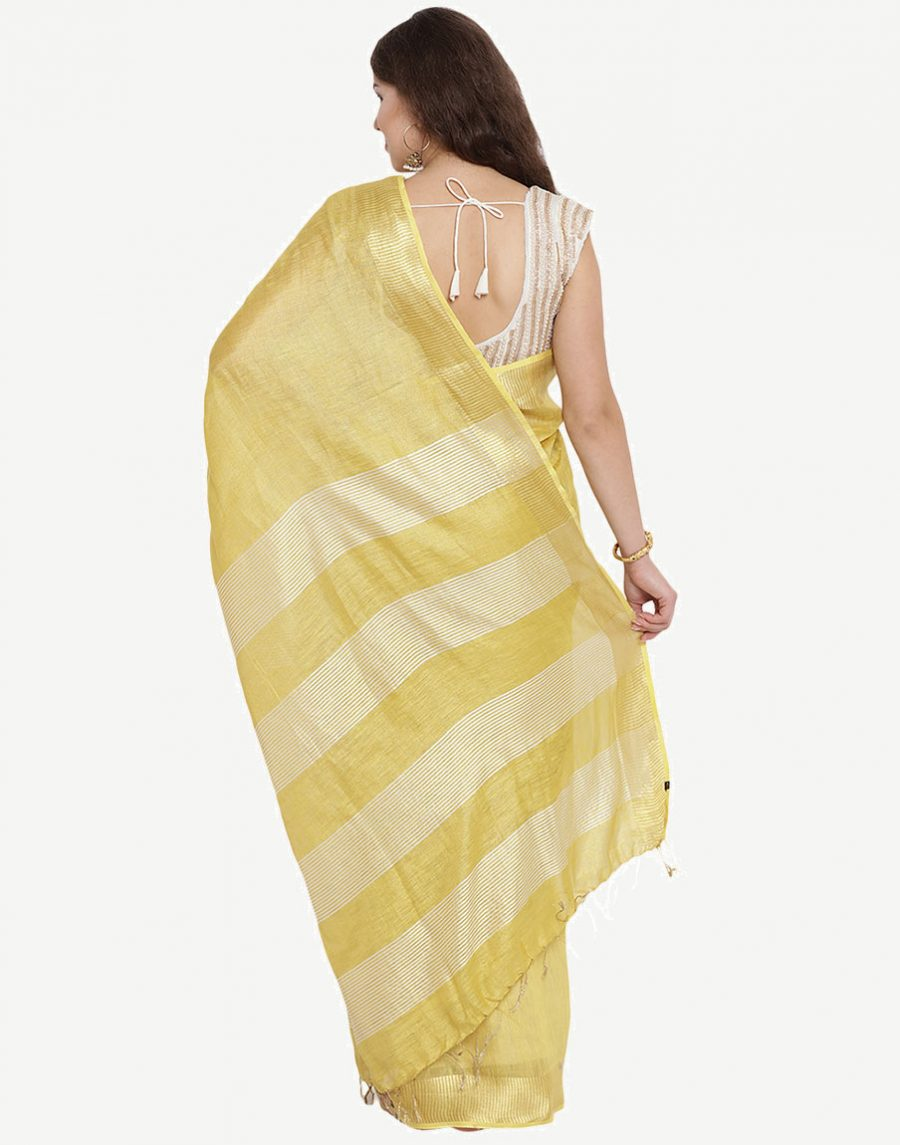 Buy Golden Tissue Linen Saree