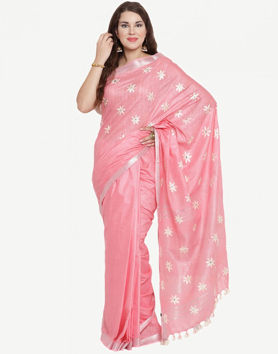 Embroidered Baby-Pink Cotton Saree