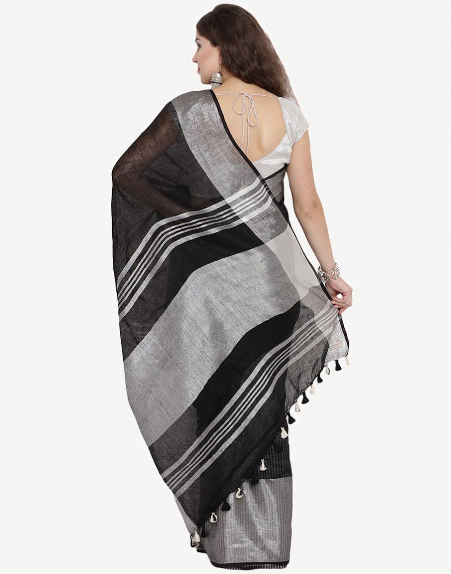 Buy Pure Linen Black Saree