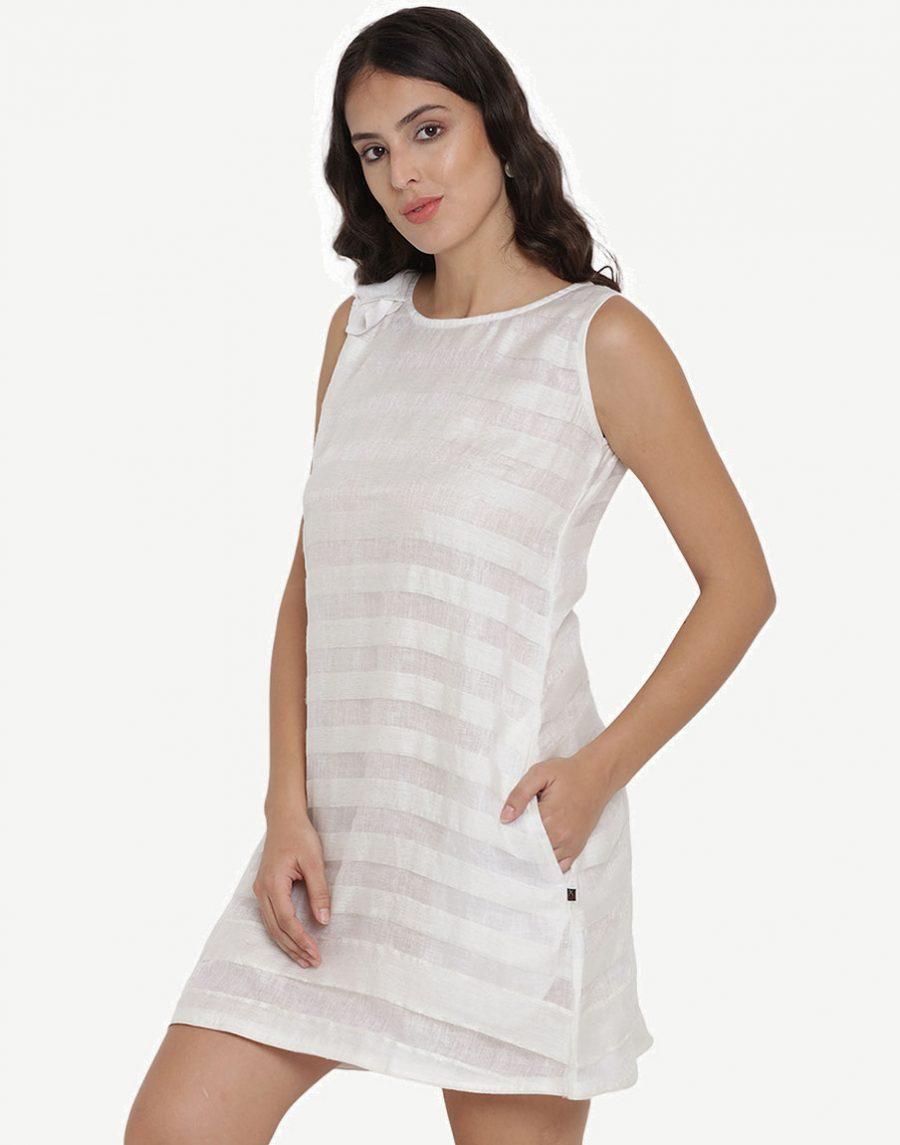 Ikkat Cotton Sleeveless White Dresses