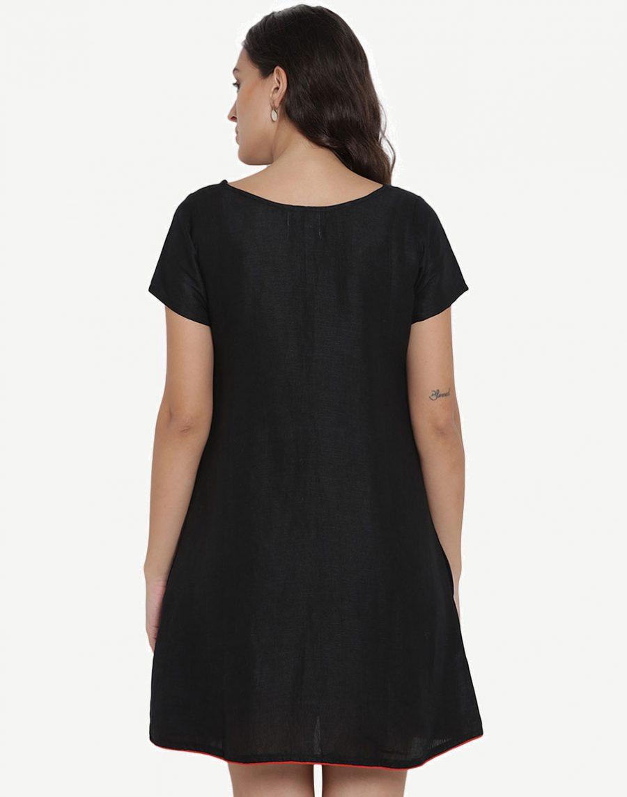 Black Linen Dress for Girls