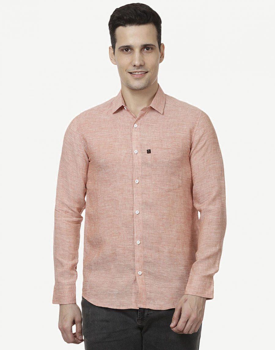 Men's Pink Casual Shirt - Pure Linen
