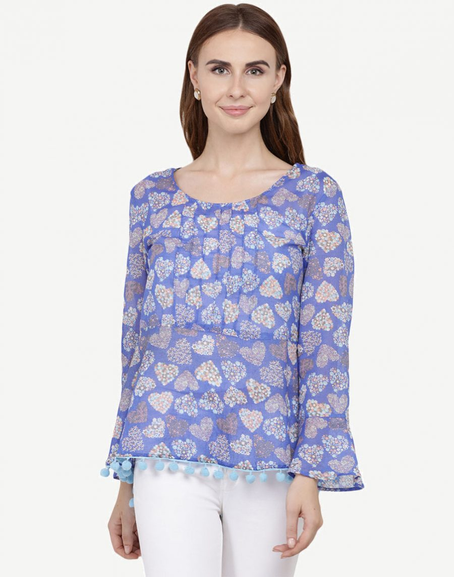 Floral Printed Blue Top