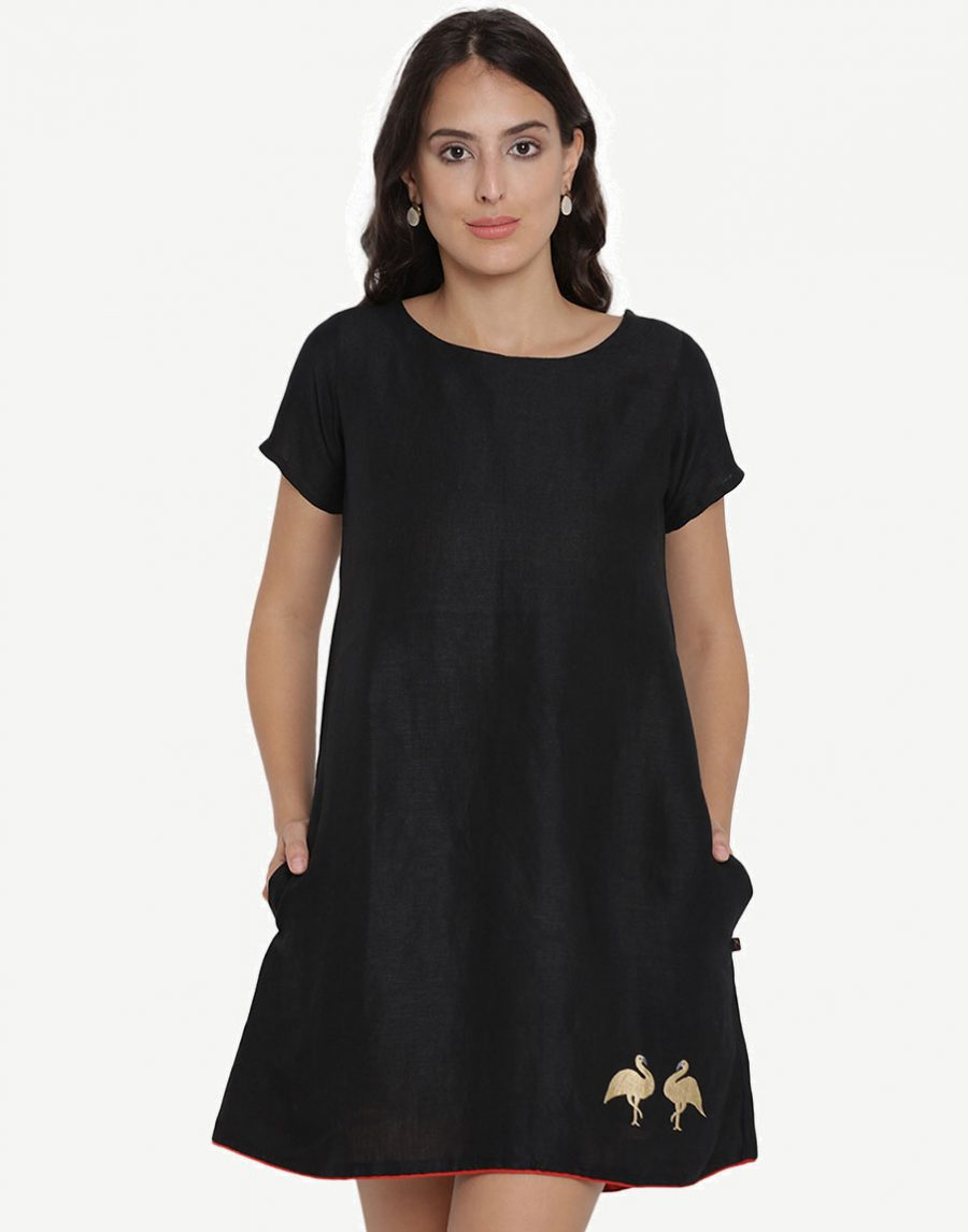 Embroidered Black Skater Dress