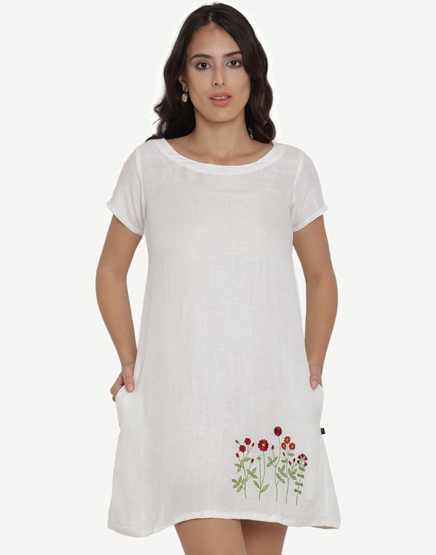 Floral Embroidered Linen Dress