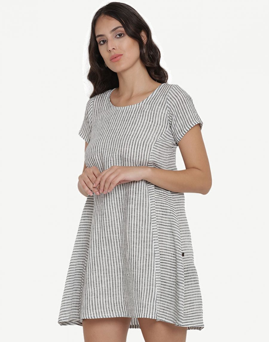 Striped Linen Skater Dress
