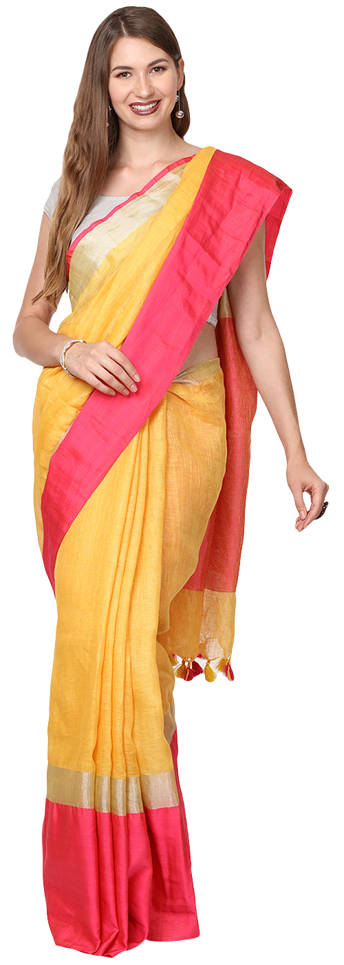 Yellow Pink Color Saree