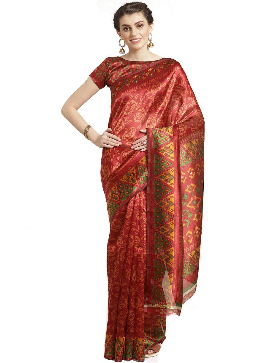 Maroon Red Silk Saree